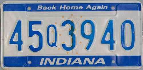 INDIANA Back Home Again - Nummernschild # 45Q3940