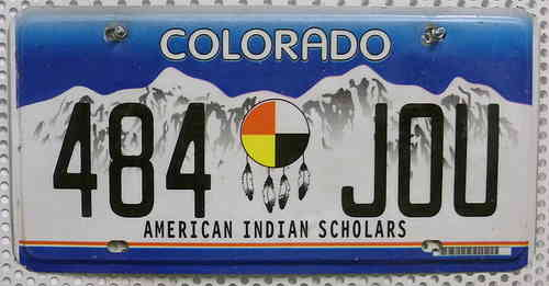 COLORADO American Indian Scholars - Nummernschild # 484JOU ...