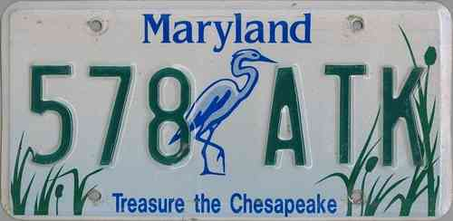 MARYLAND Treasure the Chesapeake - Nummernschild # 578ATK ...