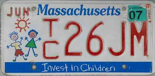 MASSACHUSETTS Invest in Children - Nummernschild # TC26JN =