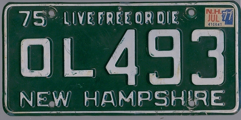 NEW HAMPSHIRE 1975 1977 Oldtimer Nummernschild # OL493 =