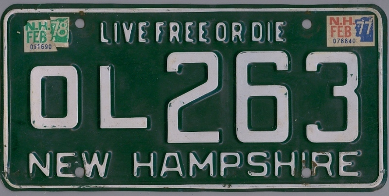 NEW HAMPSHIRE 1977 1978 Oldtimer Nummernschild # OL263 =