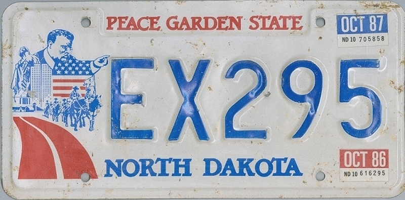 NORTH DAKOTA Peace Garden State - Nummernschild # EX295 =