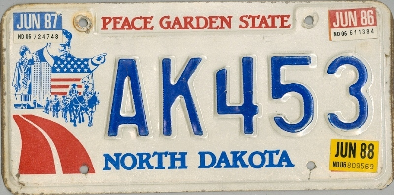 NORTH DAKOTA Peace Garden State - Nummernschild # AK453 =