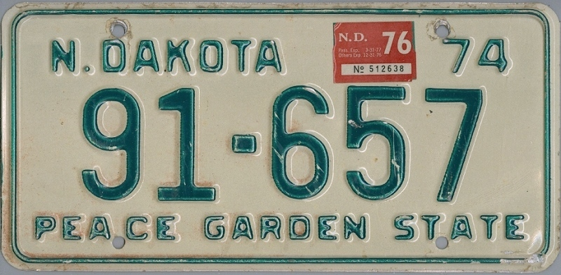 NORTH DAKOTA 1974 1976 Oldtimer Nummernschild # 91657