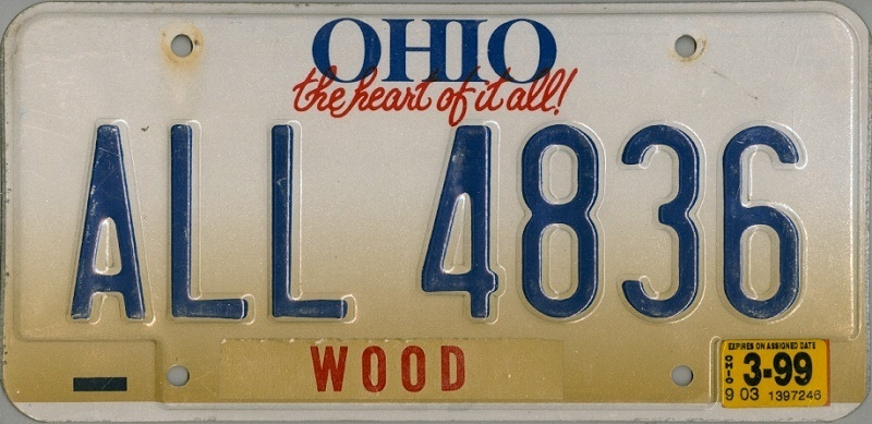 OHIO the heart of it all - Nummernschild # ALL4836 =