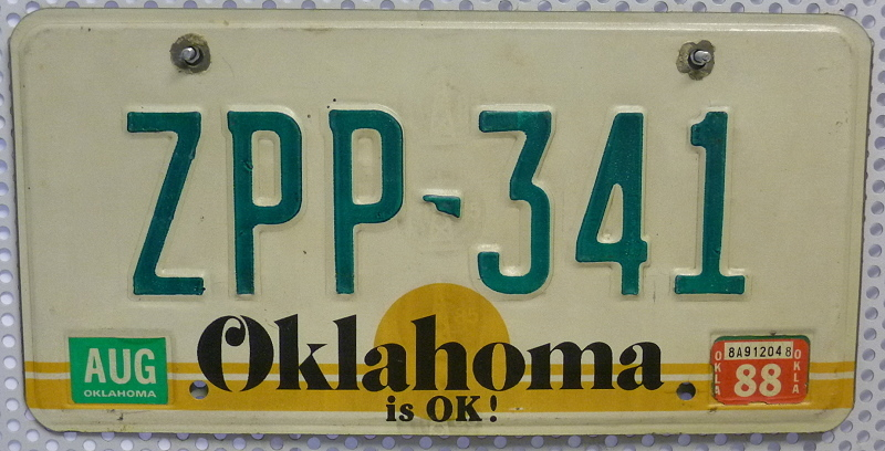 OKLAHOMA is OK ! - Nummernschild # ZPP341 =