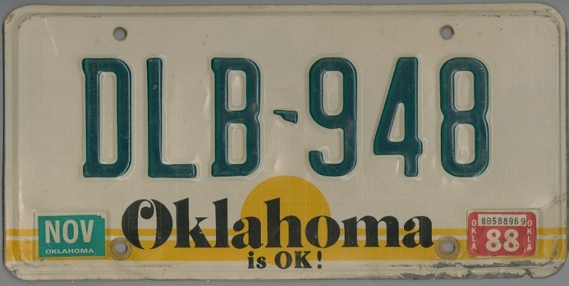OKLAHOMA is OK ! - Nummernschild # DLB948 =
