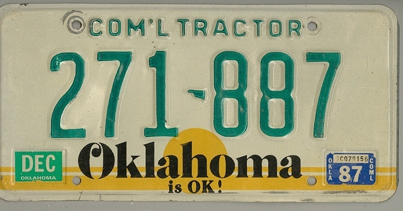 OKLAHOMA is OK ! - Nummernschild # 271887 =