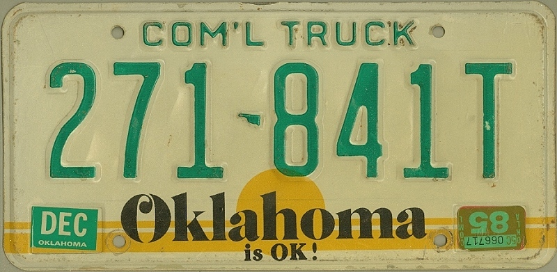 OKLAHOMA is OK ! - Nummernschild # 271841T =