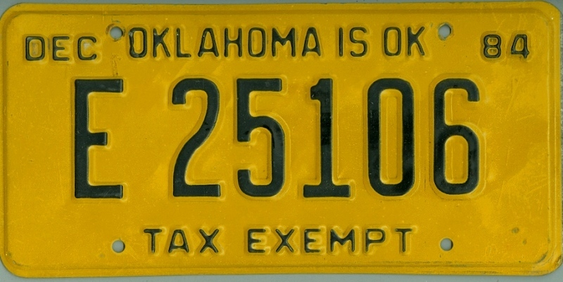 OKLAHOMA Tax Exempt - Nummernschild # E25106 ...