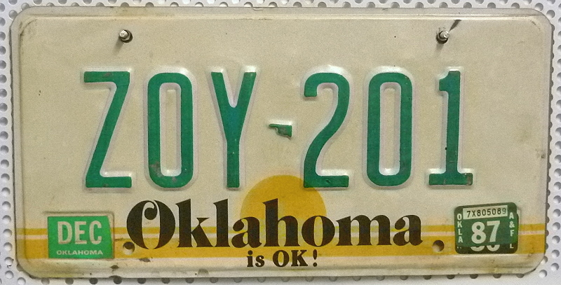 OKLAHOMA is OK ! - Nummernschild # ZOY201 =