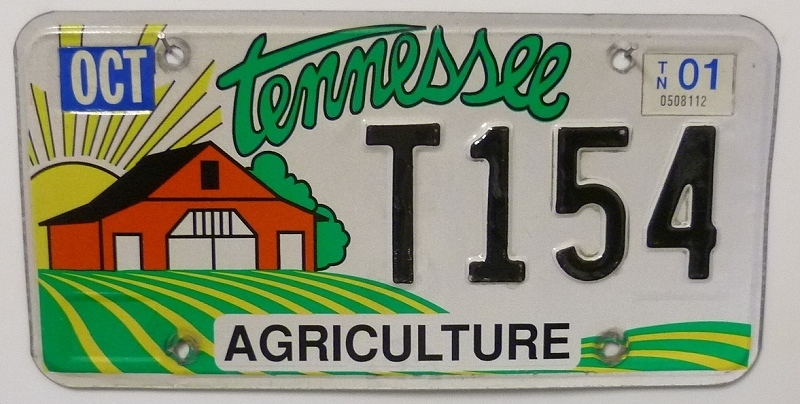 TENNESSEE Agriculture - Nummernschild # T154 =