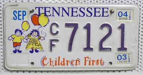 TENNESSEE Children First - Nummernschild # CF7121 =