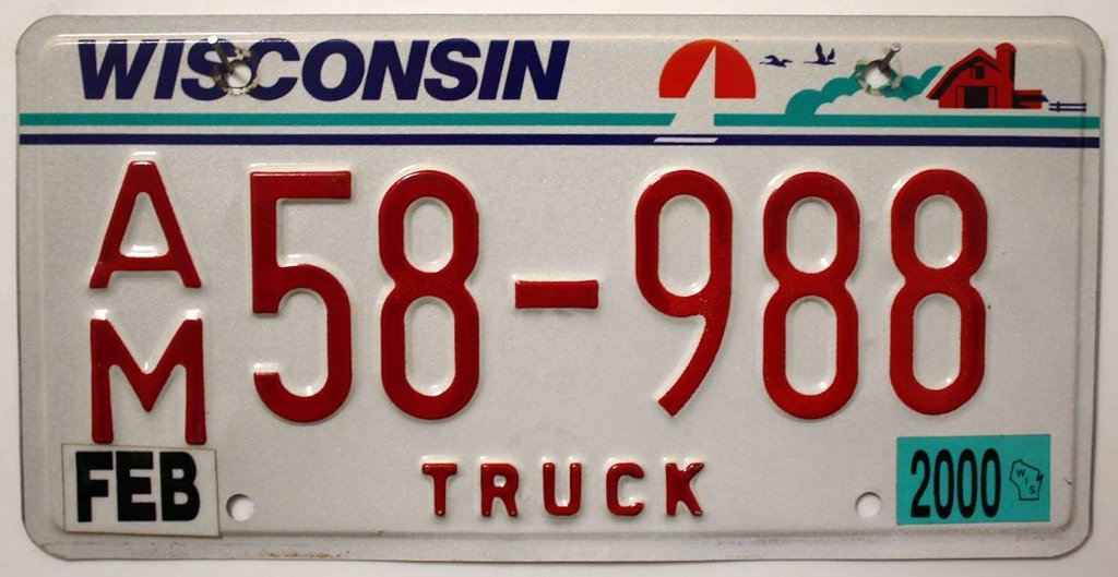 WISCONSIN Truck - Nummernschild # AM58988 =