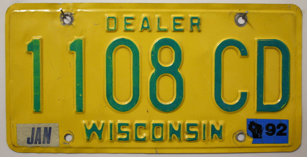 WISCONSIN Dealer - Nummernschild # 1108CD =