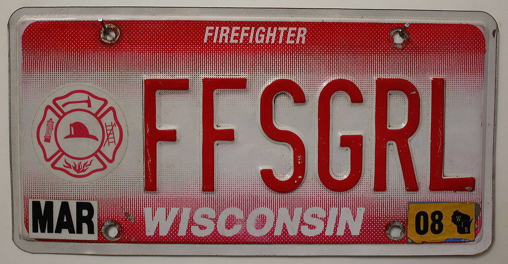 WISCONSIN Firefighter - Nummernschild # FF(Mar08)
