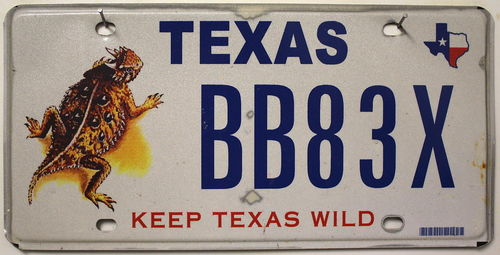Keep TEXAS Wild - Nummernschild # BB83X