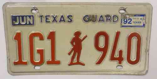 TEXAS Guard - Nummernschild # 1G1940 =
