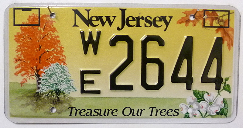 NEW JERSEY Treasure Our Trees - Nummernschild # WE2644 ...