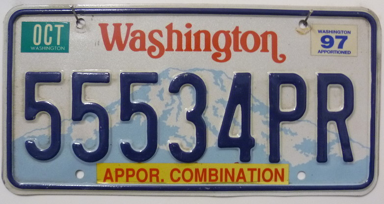 WASHINGTON Appor. Combination - Nummernschild # 55534PR =