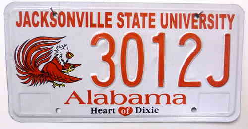 ALABAMA State University - Nummernschild # 3012J =