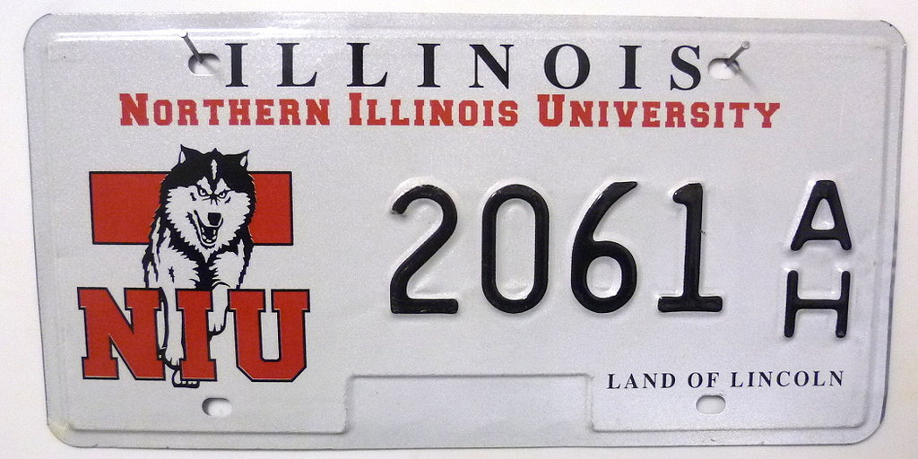 Northern ILLINOIS University - Nummernschild # 2061AH