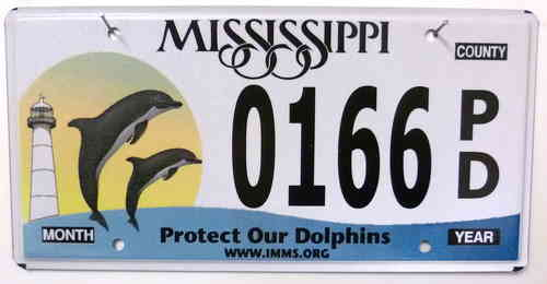 MISSISSIPPI Protect Our Dolphins - Nummernschild # 0166PD