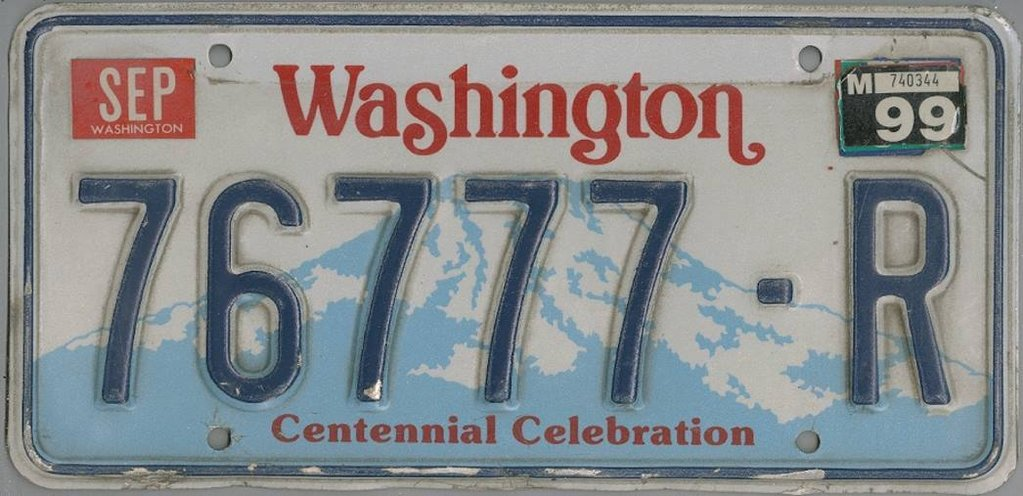 WASHINGTON Centennial Celebration - Nummernschild # 76777R =