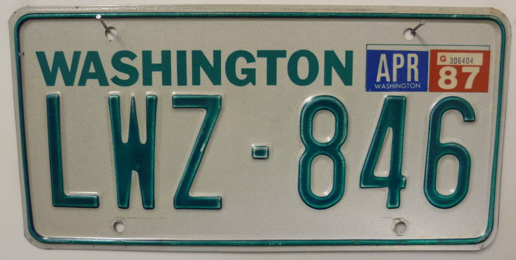 WASHINGTON Typ Grün - Nummernschild # LWZ846 =