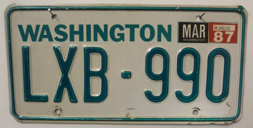WASHINGTON Typ Grün - Nummernschild # LXB990 =