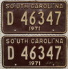 SOUTH CAROLINA 1971 Oldtimer Schilder PAAR - USA Nummernschilder # D46347