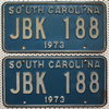 SOUTH CAROLINA 1973 Oldtimer Schilder PAAR - USA Nummernschilder # JBK188