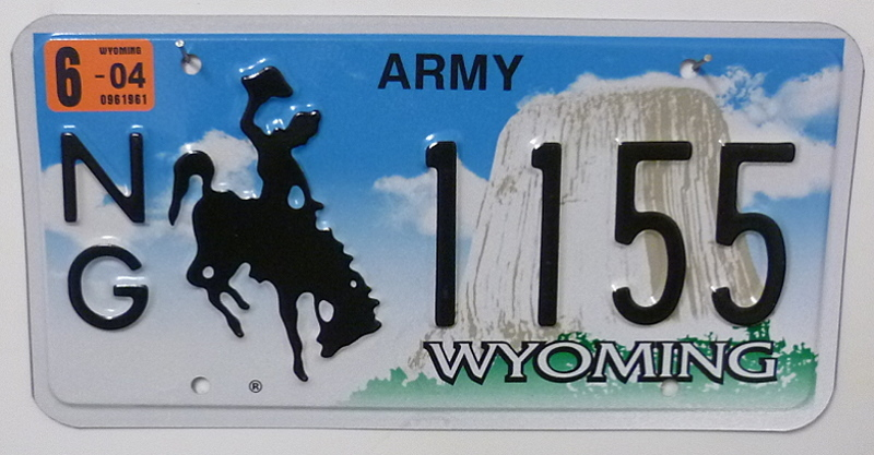 WYOMING Army NG - Nummernschild # 1155 =