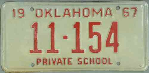 OKLAHOMA 1967 Private School - Nummernschild # 11154 ...