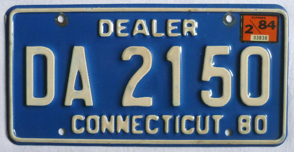 CONNECTICUT 80 Dealer - Nummernschild # DA2150 =