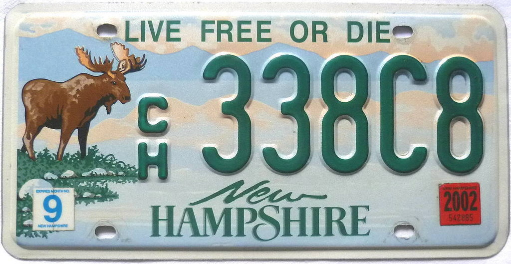 NEW HAMPSHIRE Moose / Elch Grafik - Nummernschild # 338C8 =