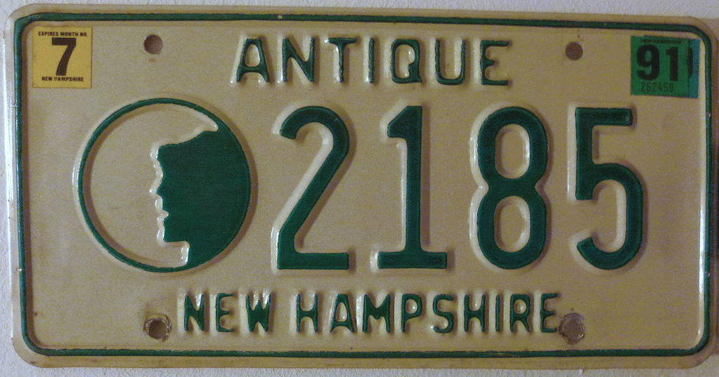 NEW HAMPSHIRE Antique - Nummernschild # 2185 =