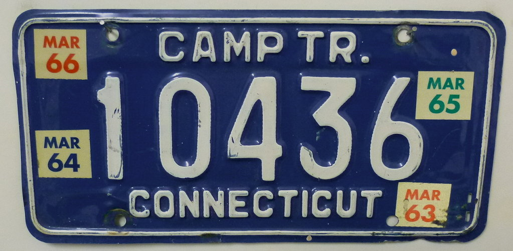 CONNECTICUT 1963 1964 1965 1966 - Nummernschild # 10436 =