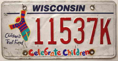 WISCONSIN Celebrate Children - Nummernschild # 11537K ...