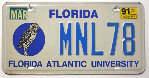 FLORIDA Atlantic University - Nummernschild # MNL78 =