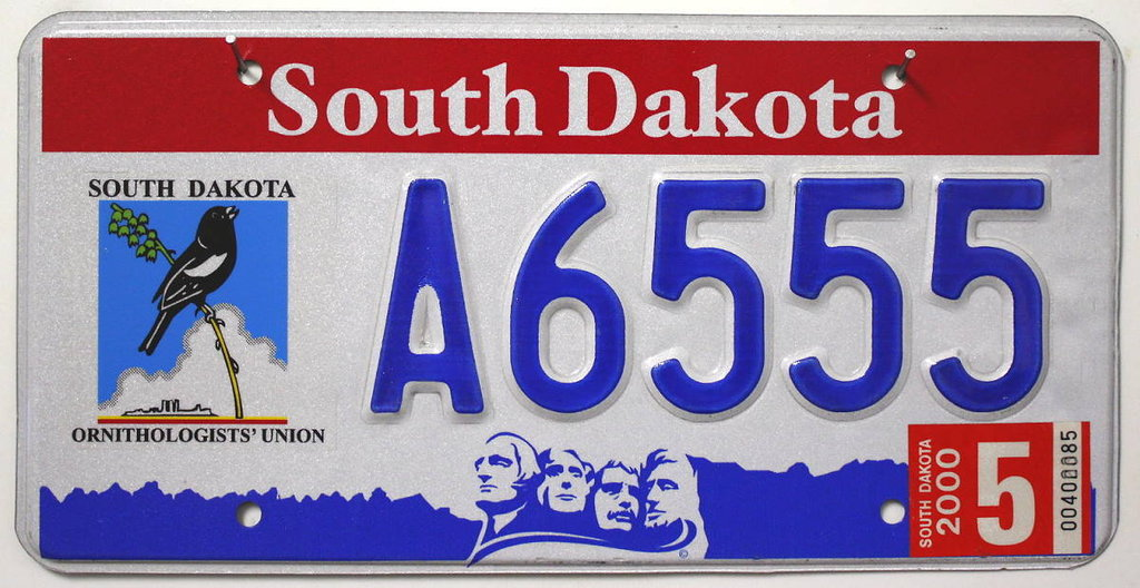 SOUTH  DAKOTA Ornithologists' Union - Nummernschild # A6555 =