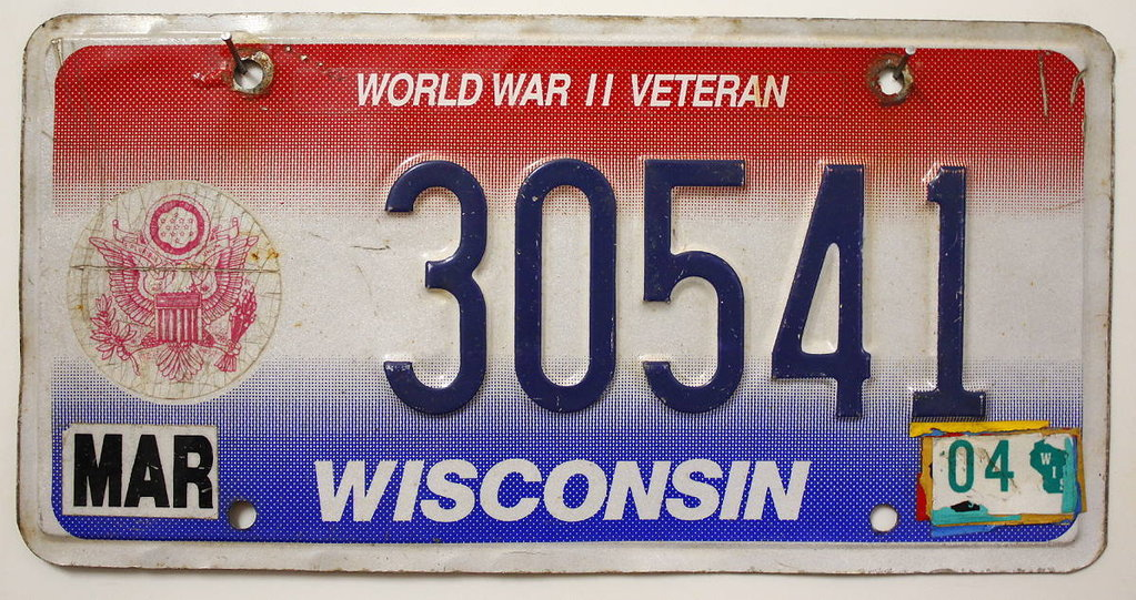 WISCONSIN World War II.Veteran - Nummernschild # 30541 =