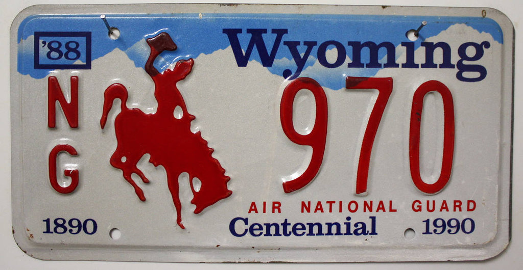 WYOMING Air National Guard - Nummernschild # NG.970
