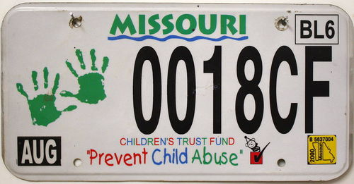 MISSOURI Children's Trust Fund - Nummernschild # 0018CF =