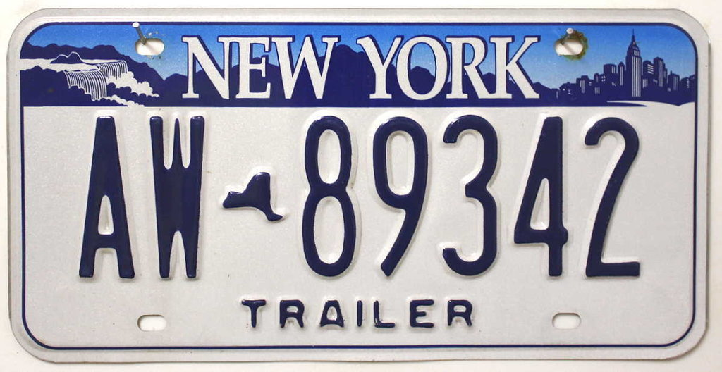 NEW YORK Trailer - Nummernschild # AW89342 ...