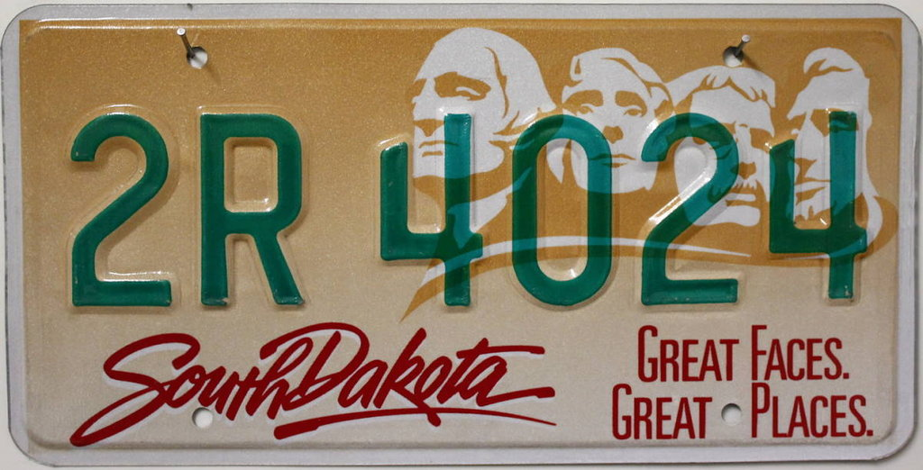 SOUTH DAKOTA Mount Rushmore - Nummernschild # 2R4024 ...