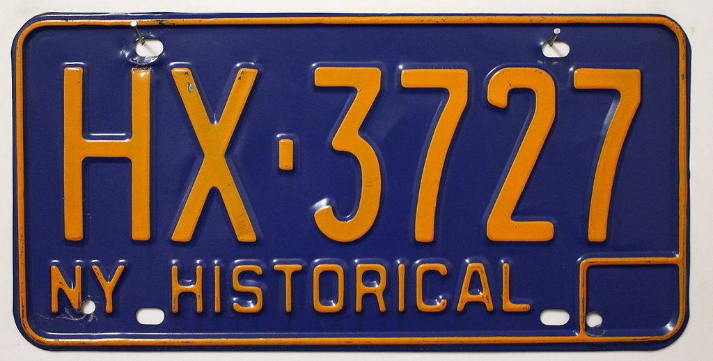 NEW YORK Historical Typ - Nummernschild # HX3727 ...