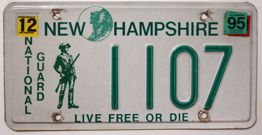 NEW HAMPSHIRE National Guard - Nummernschild # 1107 =