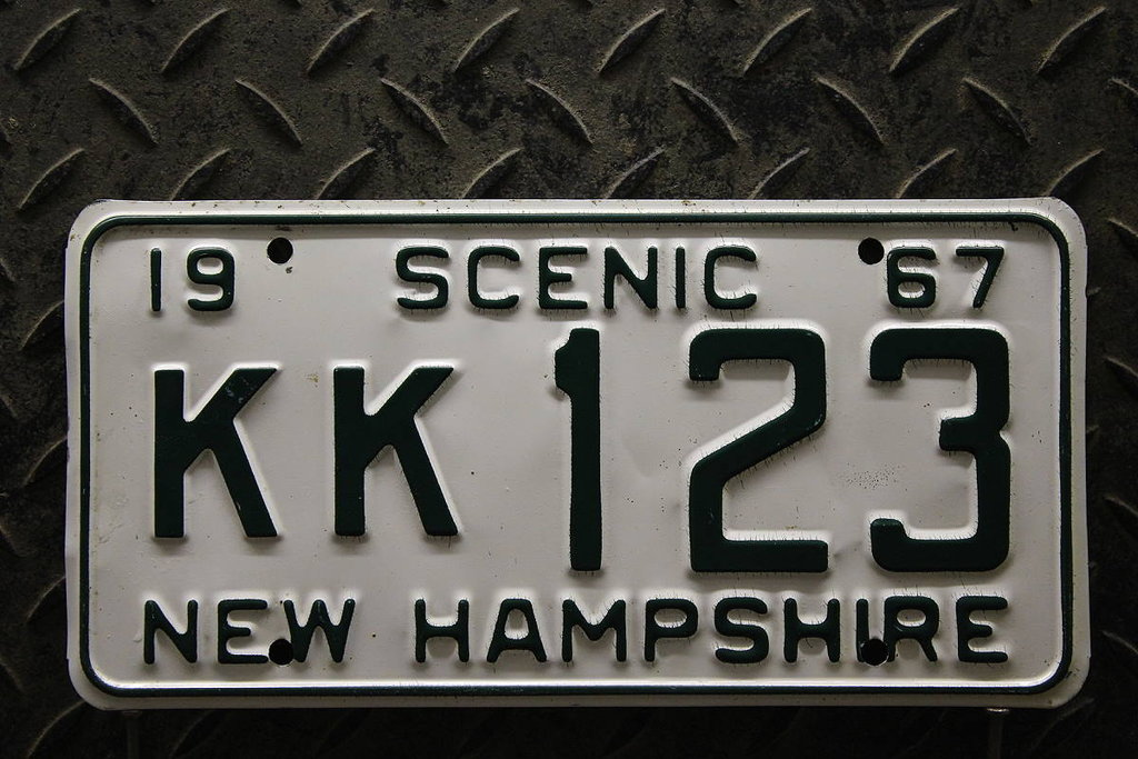 NEW HAMPSHIRE 1967 Oldtimer Nummernschild # KK123